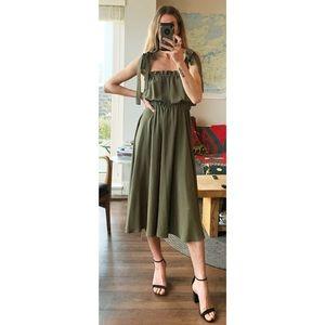 Handmade Olive Green Midi Tie Strap Ruffle Dress